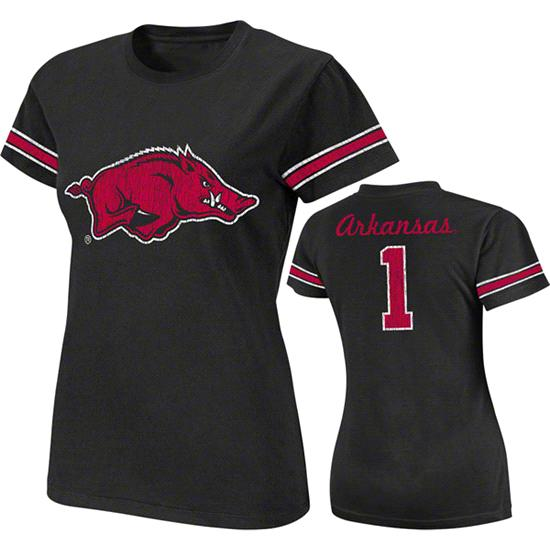 Arkansas Razorbacks Black Women's Galaxy #1 Jersey T-Shirt