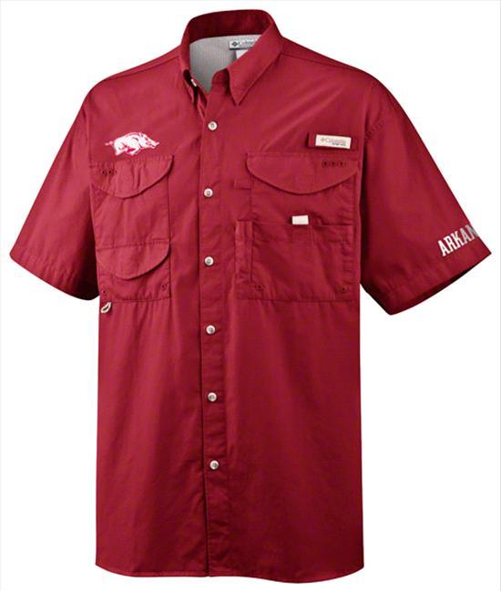 Arkansas Razorbacks Dark Red Columbia Bonehead Shirt