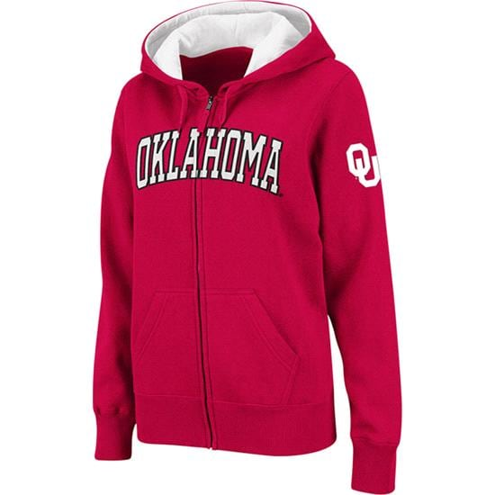 Oklahoma Sooners Women's Cardinal Twill Tailgate Full-Zip Hooded Sweatshirt
