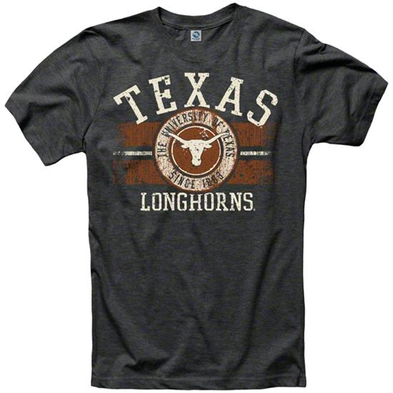 Texas Longhorns Heather Black Button Up Ring Spun T-Shirt