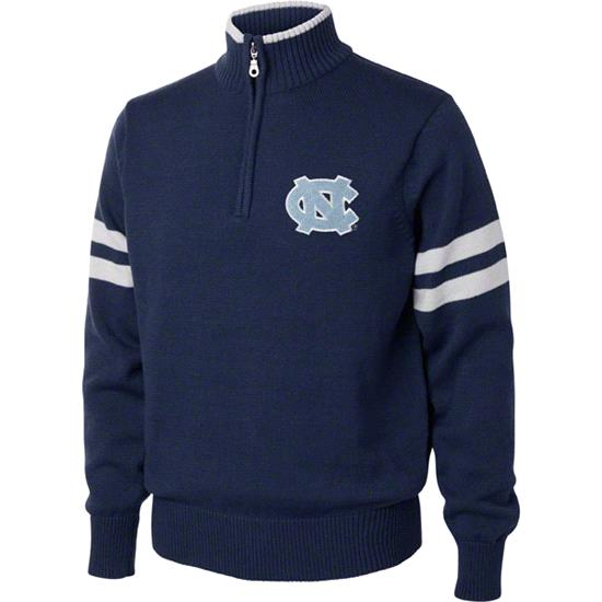 North Carolina Tar Heels Navy/White 1/4 Zip Pullover Sweater
