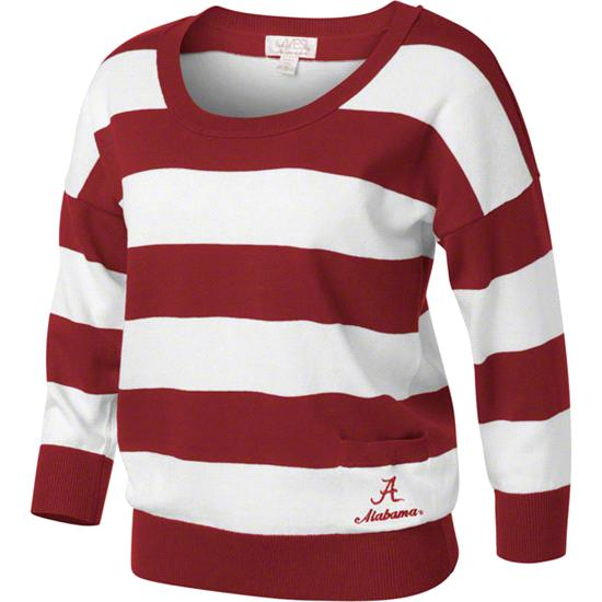 Alabama Crimson Tide Women's Cardinal/White 3/4 Sleeve Scoop Neck Rugby Sweater