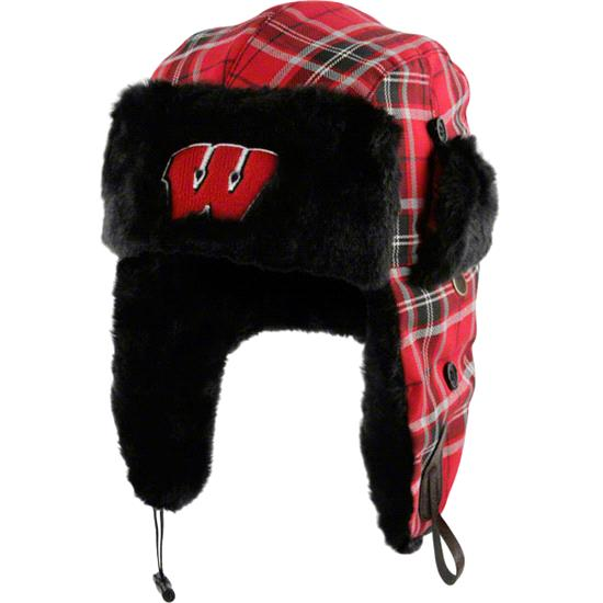 Wisconsin Badgers Youth Red Plaid Pattern Winterize Earflap Knit Hat