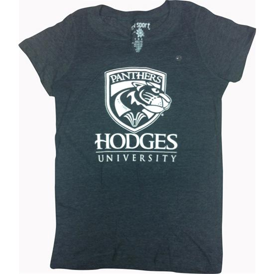 Hodges University T-Shirt Ladies Panther Notch Tee - Navy Heather