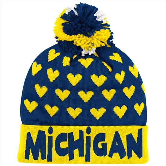 Michigan Wolverines adidas Navy Youth Girls Cuffed Knit Hat