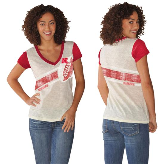 Nebraska Cornhuskers Women's Red Zone Coverage Deep V-Neck T-Shirt