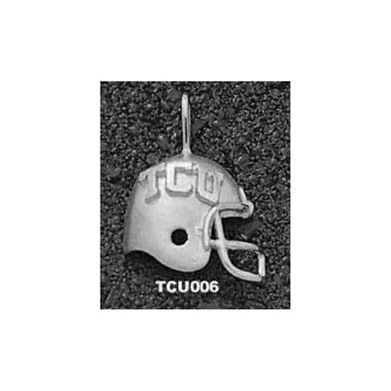 TCU Horned Frogs Sterling Silver ''TCU'' Helmet Pendant