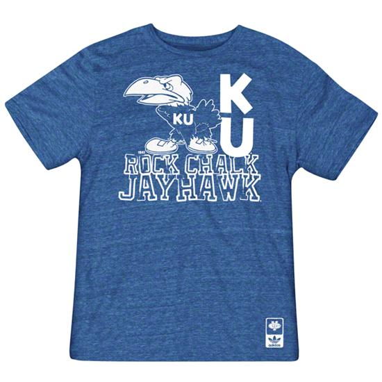 Kansas Jayhawks adidas Originals Heathered Blue Vault Logo Tri-Blend T-Shirt