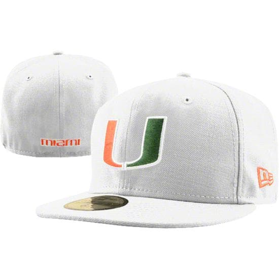 Miami Hurricanes White New Era 59FIFTY Fitted Hat