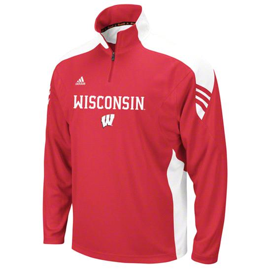 Wisconsin Badgers Youth adidas Red Scorch 1/2 Zip Pullover Jacket