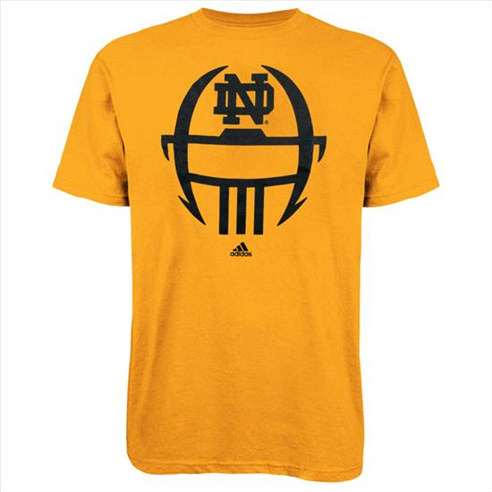 Notre Dame Fighting Irish Gold adidas 2012 Football Sideline Helmet T-Shirt