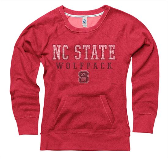North Carolina State Wolfpack Women's Worn Out Ring Spun Scoopneck Sweatshirt