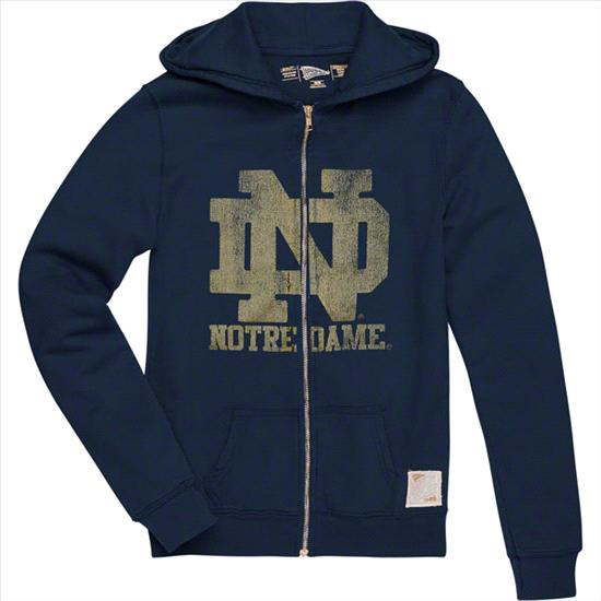 Notre Dame Fighting Irish Original Retro Brand Women's ND Vintage Full-Zip Hooded Sweatshirt
