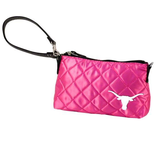 Texas Longhorns Pink Quilted Wristlet