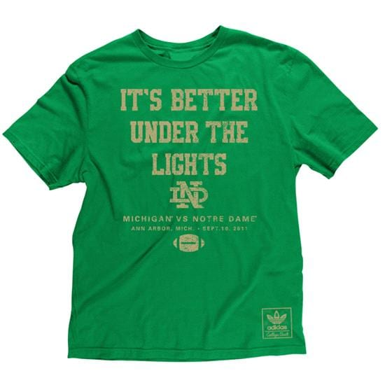 Notre Dame Fighting Irish Green adidas 'It's Better Under The Lights' Super Soft T-Shirt