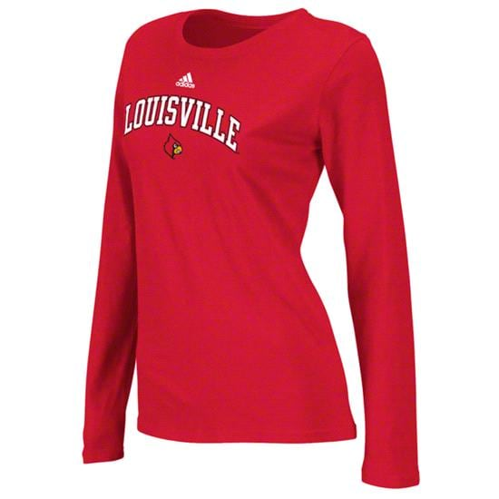 Louisville Cardinals Women's Red adidas Halftone Script Garment Washed Long Sleeve T-Shirt