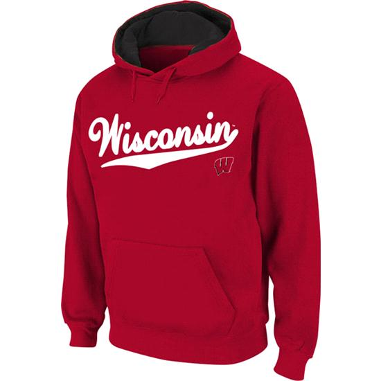 Wisconsin Badgers Red Twill Script Hooded Sweatshirt