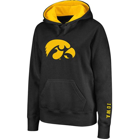 Iowa Hawkeyes Women's Black Twill Victory Lap Hooded Sweatshirt