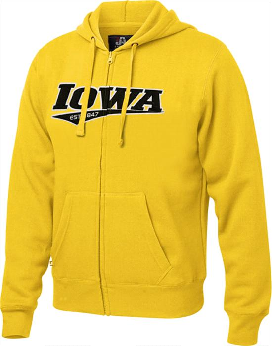 Iowa Hawkeyes Gold Twill Tailsweep Full-Zip Hooded Sweatshirt