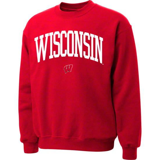 Wisconsin Badgers Red Twill Arch Crewneck Sweatshirt