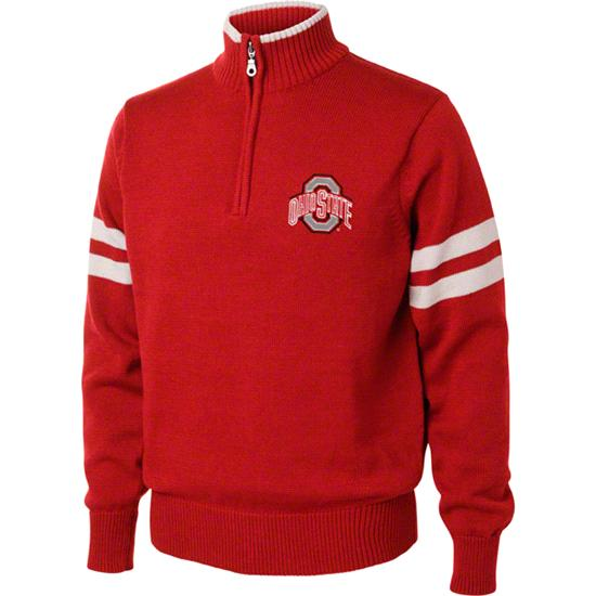 Ohio State Buckeyes Red/White 1/4 Zip Pullover Sweater