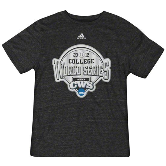 NCAA Baseball adidas 2012 College World Series Heathered Black Tri-Blend T-Shirt