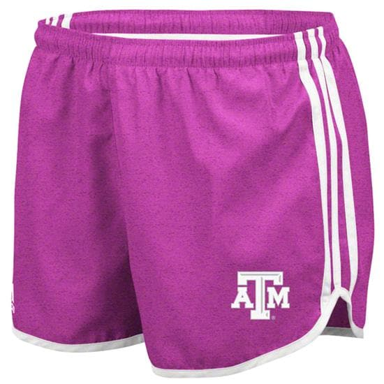 Texas A&M Aggies adidas Heathered Pink Women's 3-Stripe Princess Shorts